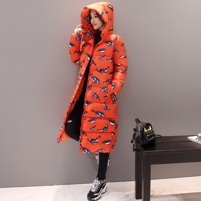 Women Long Coat Fashion Design Print Thick Padded Down Cotton Slim Jacket