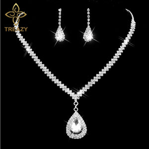 Women Crystal Rhinestone Earrings Set Bridal Jewelry Sets Waterdrop Necklace Silver Color Earrings Wedding Jewelry Sets Accessories