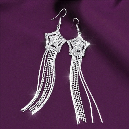 TBOO High Quality U Pick Style Bling Crystal Long Tassel Party Stud Dangle Drop Earrings Eardrop For Women Jewelry