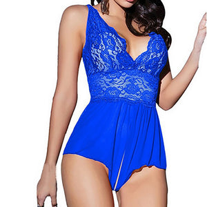Women Sexy Lace Lingerie Backless Halter Babydoll G-string Dress