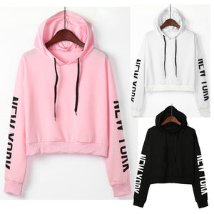 Womens Letters Long Sleeve Hoodie Sweatshirt Pullover Tops Blouse