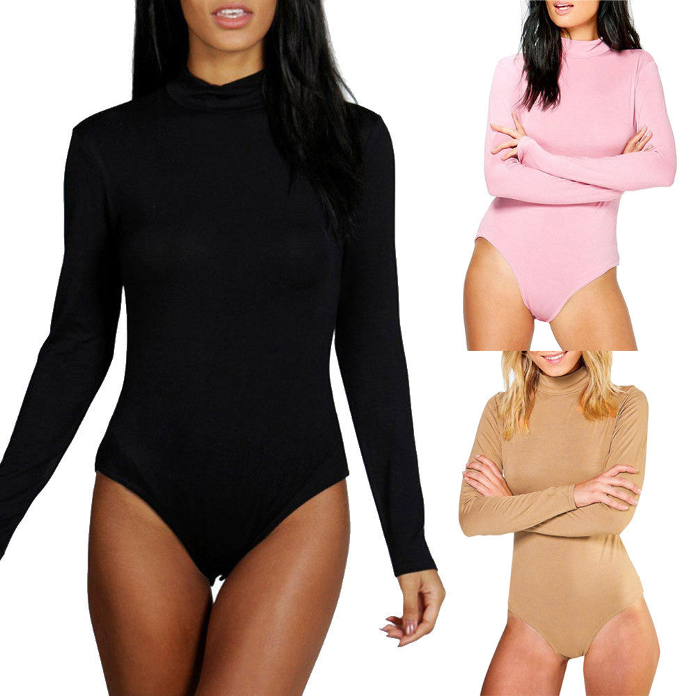 Women Long Sleeve Solid Clubwear Playsuit Bodycon Party Jumpsuit
