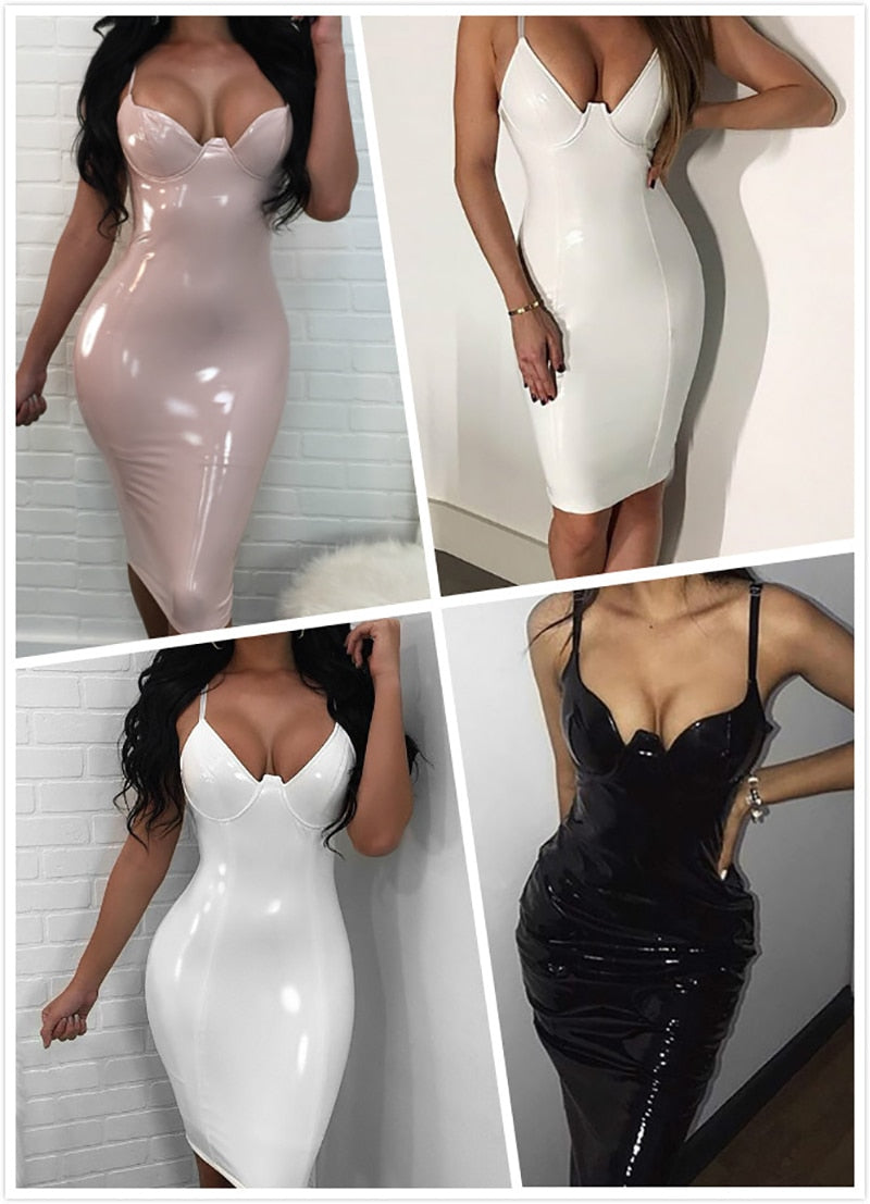 Women Spaghetti Strap PU Elegant Sexy Bodycon Dress Vestidos Lady Party Dresses