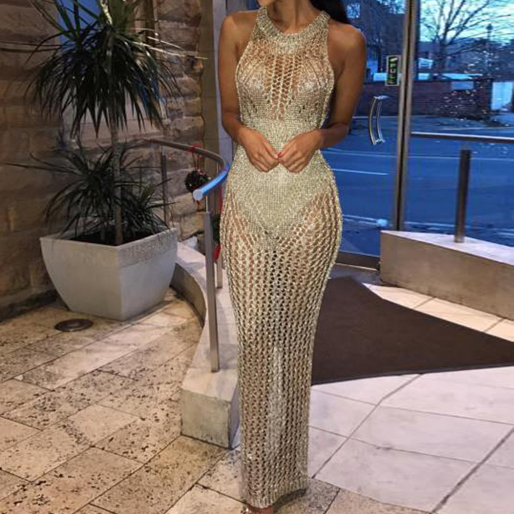 Women Sexy Off Shoulder High Neck Hollow Out Dresses Gold Color Elegant Party Dress Vestdios