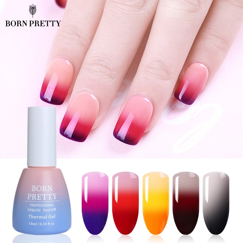 BORN PRETTY 3 Colors Thermal Nail Gel Polish 10ml Temperature Color Changing Soak Off UV Gel Lacquer Manicure Nail Art Varnish