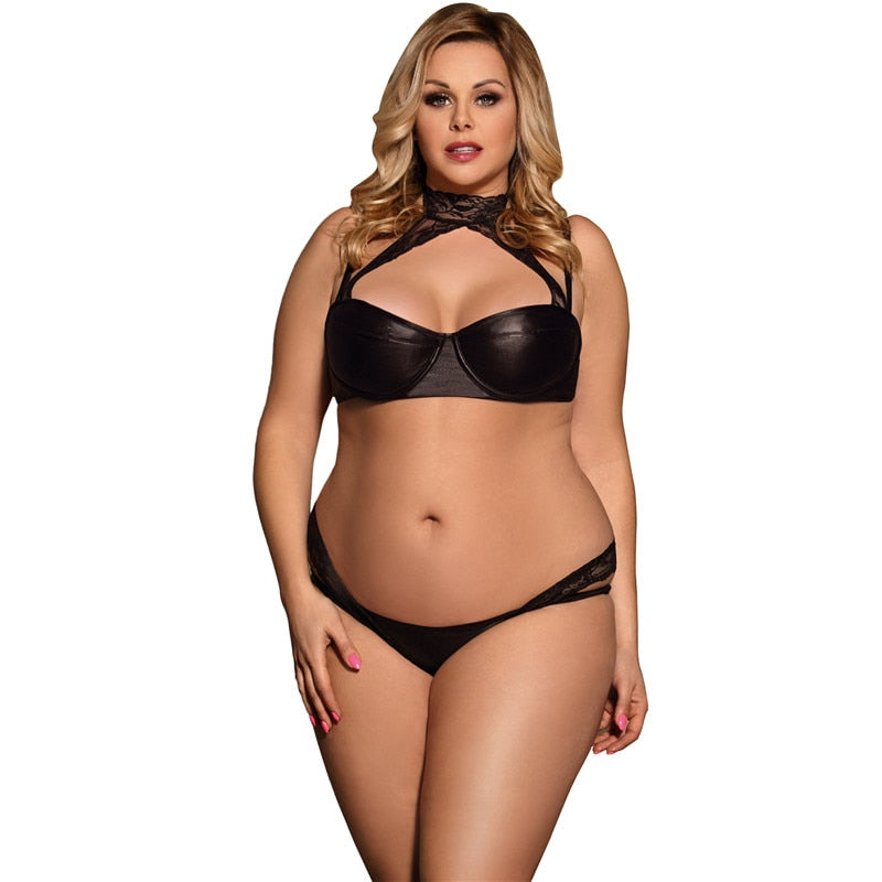 Women Plus size 5XL Intimates Sexy Lingerie Set Special Design Black Leather Lace Halter Bra Set With Bra + Panty + Lace G String