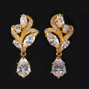Fashion Flower Sparkling Tiny CZ Halo Drop Earrings Jewelry For Women