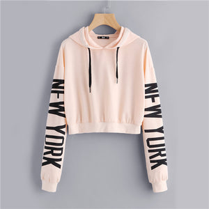Drop Shoulder Letter Print Sleeve Hoodie Women Pink Long Sleeve Sporting Pullovers Sweatshirt 2017 Casual Sweatshirt