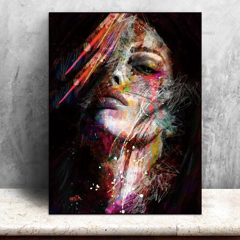 Canvas Painting Wall Art Pictures prints colorful woman on canvas no frame home decor
