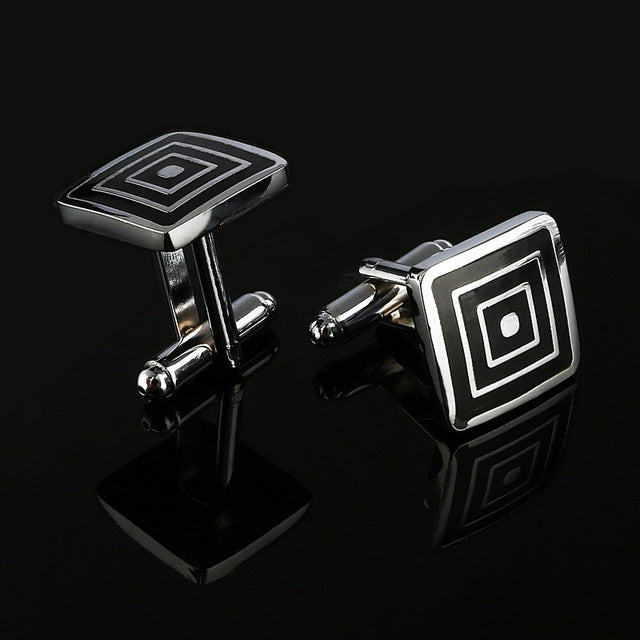 Simple Style Black Rectangle Cufflinks Mens Shirt Cuff Button Christmas Gifts for Men Silver Plated Cuff link gemelos