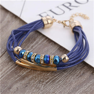 Bracelet New Fashion 2018 Jewelry Leather Bracelet for Women Bangle Europe Beads Charms Gold Bracelet
