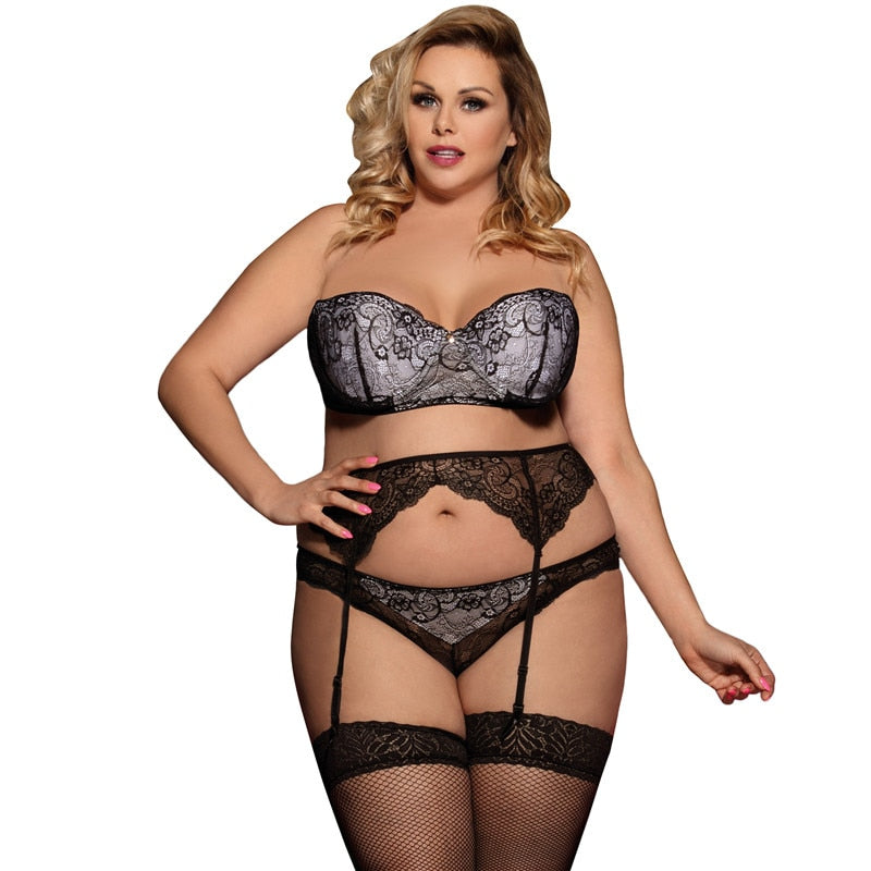 Sexy Transparent Striped Sex Lingerie Set With Bra+Garterbelt + Panty Plus Size Sexy Erotic Underwear