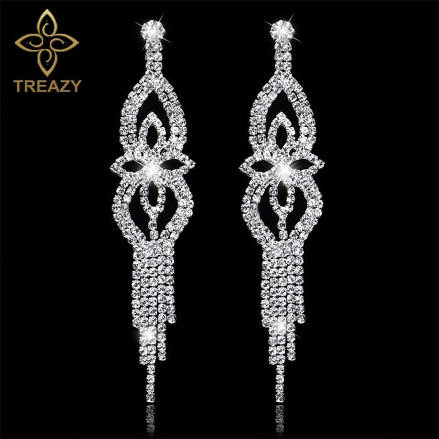 Women Bridal  Crystal Long Earrings Sparkling Rhinestone Silver Bridemaid Wedding Earrings Party Fashion Jewelry