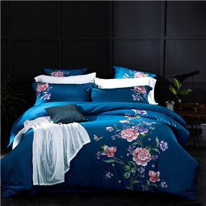 TBOO Embroidered Egyptian Cotton Bedding Sets Queen King Size flat Bedsheet Pillowcases Duvet Cover Set Blue