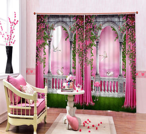 Modern Luxury Chinese 3D pink lake Swan Photo Blackout Curtains For Bedding room Living room Hotel Drapes Cortinas para sala