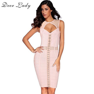 Sexy Bodycon Mini Dress Bandage Dress Rayon Clubwear Sleeveless Pink Mesh Sexy Patchwork Bandage Dress