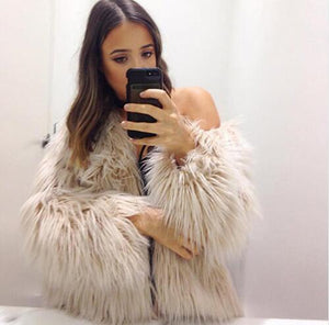 White faux fur coats long sleeve fashion female jacket fuffly fake fur coat outerwear