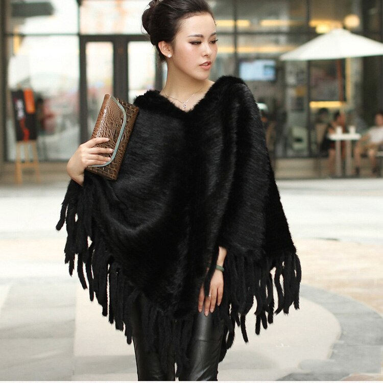 T-BOO  Natural Knitted Mink Fur Ponchos With Tassels genuine mink fur fashion capes Big Size