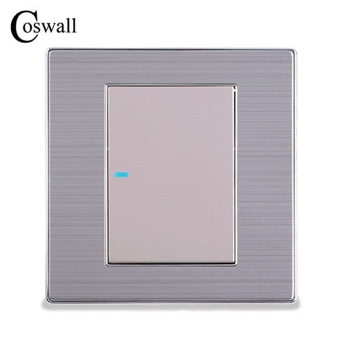 Luxury LED Light Switch 1 Gang 1 Way Push Button Wall Switch Interruptor Silver Panel