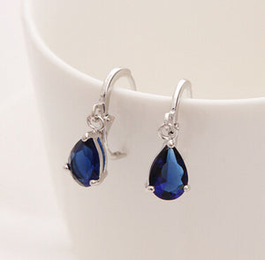 2018 New Summer Style Royal Blue Austria Crystal Silver Clip Dangle Earrings For Woman Charm aretes Pierced on ear jewelry