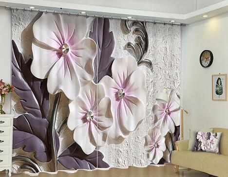 Customized Blackout fabric Floral 3D Print Window Curtains Drapes For Living room Bedroom Christmas