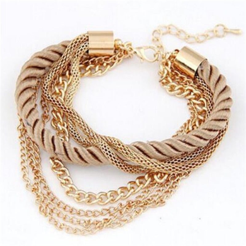Free Shipping Fashion Multilayer Charm Bracelet Exaggerated Gold Chain Bracelet Femme High Quality Of Handwoven Rope Jewelry