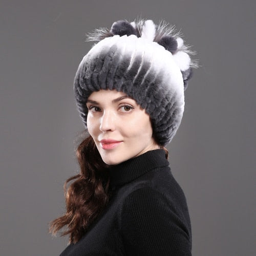 2020 Women's Genuine Rex Rabbit Fur Hats Striped Head Fox Fur Warm Real Fur Knit Caps
