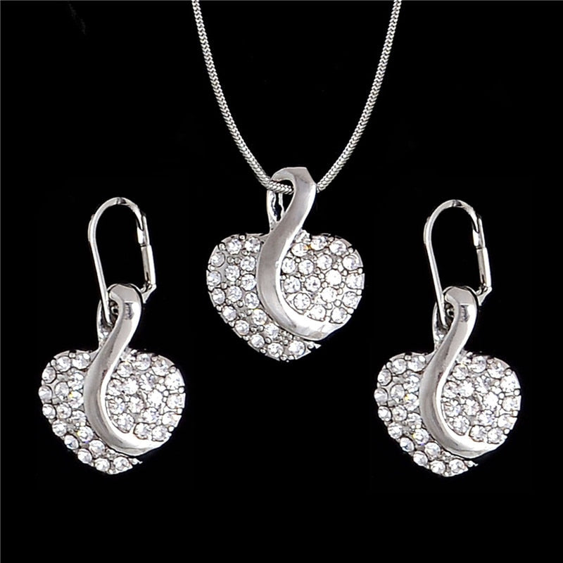 Nigerian Cute Heart Cubic Zirconia Wedding Jewelry Sets inlay Luxury Crystal Bridal Gold Silver Jewelry Set Gifts For Bridesmaid