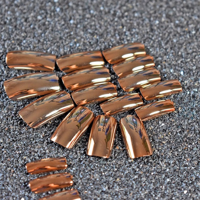 Reflective Mirror Light Soft Pink Metal Plating False French Acrylic Nail Tips Metallic Square Fake Nails Without Nail Glue