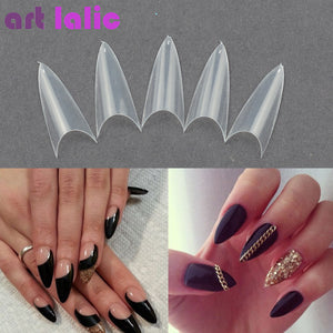 False Nail Clear Natural White False Point Stiletto French Acrylic UV Gel Nail Tips 500 Tips