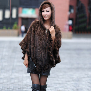 Genuine Women Knitted real MINK Fur Fashionable Poncho with A Hood Zipper Cape Shawls Stole and Wraps