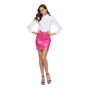 PU Leather Pencil Skirts Women Summer Pink Mini Skirts Female 2018 Fashion Sexy Party Skirt Wear Short Button Front Zipper