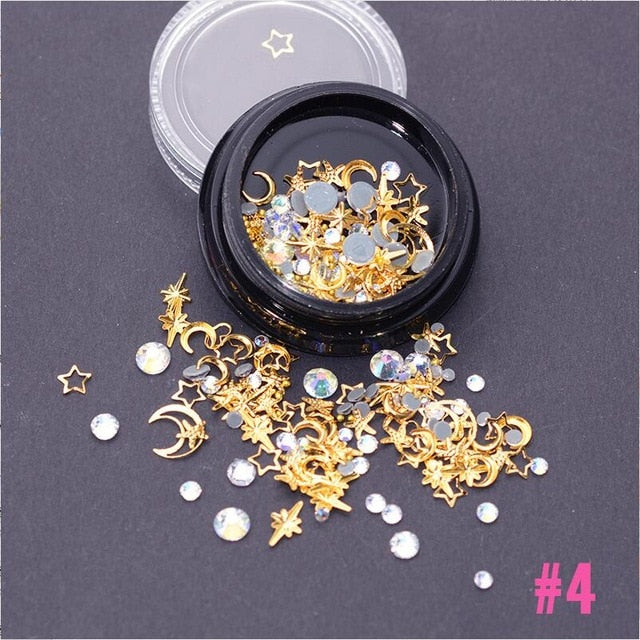 Mix Gold Nail Rivet Star Moon Pearl Rhinestones Design Punk Nail Jewlery Silver 3D Nail Art Decoration For Manicure