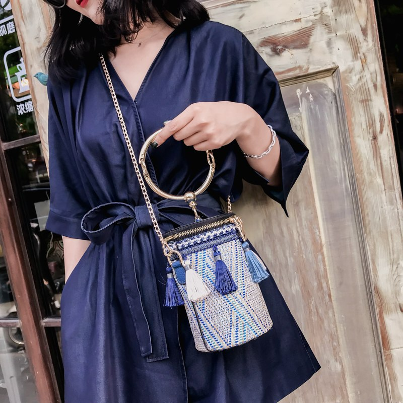 Women Cylindrical Straw Bag Mini Tassel Crossbody Bags Chain Woven Metal Ring Handle Small Shoulder Tote Handbag