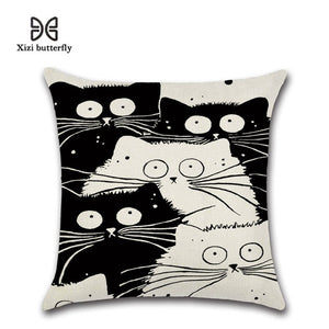 New Cartoon Cat Linen Cushion Cover 45X45cm Pillow Case Home Decorative Pillows Cover For Sofa Car Cojines