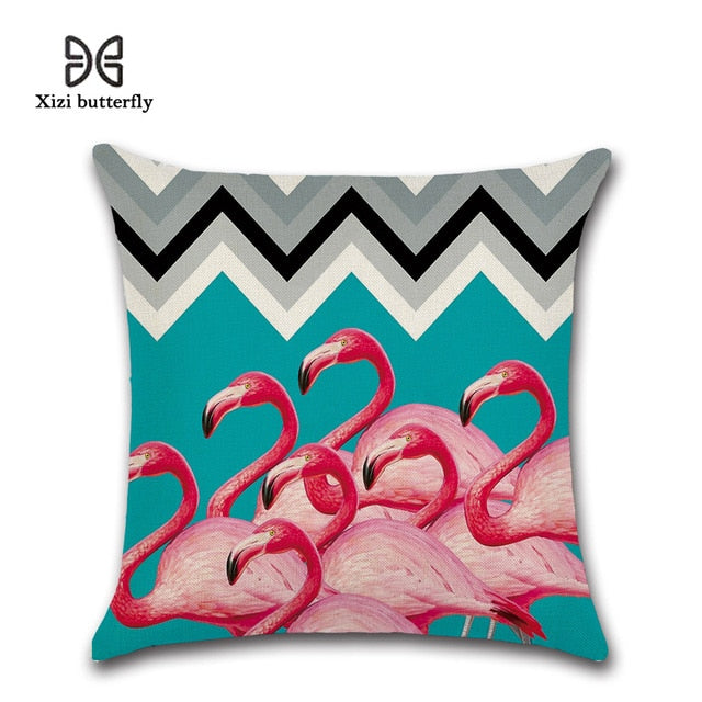 45*45cm Tropical Flamingo Saying Freedom Passion Cushion Cover Linen Throw Pillow Car Home Decoration Decorative Pillowcase