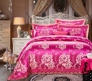 King Queen size Luxury Bedding Set Jacquard Cotton Bed set Duvet Cover Bed/Flat Sheet set Pillowcase