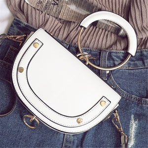 Women Semi-Circular Dumplings Package Bag Metal Handle Shoulder Bag