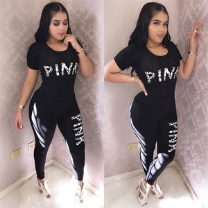Summer Women Tracksuit Pink Letter Print Top and Long Pants 2 Piece Set Female Casual Pants Suits Set Summer Outfits
