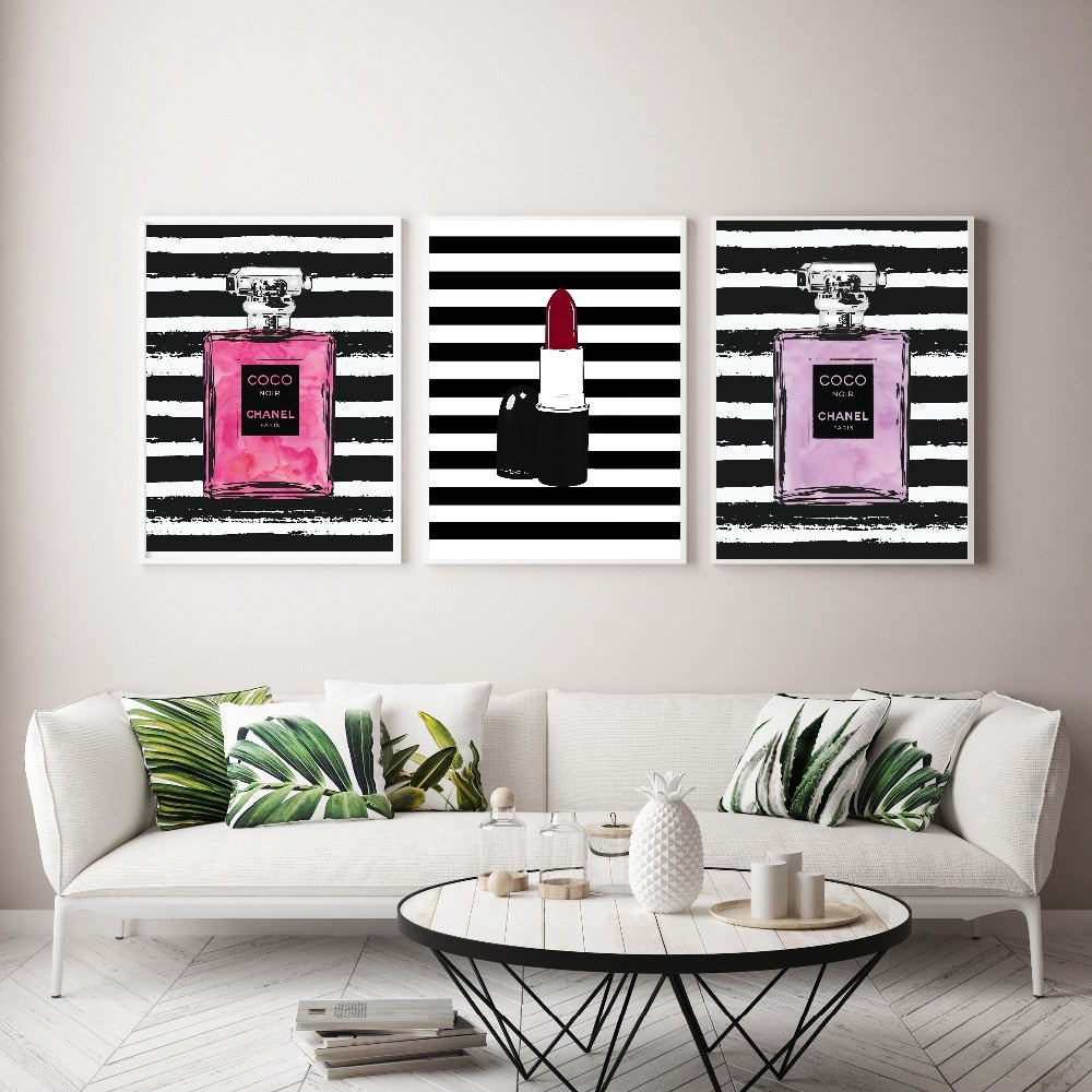 Lipstick COCO Perfume Bottle Wall Art Canvas Painting Modern Wall Pictures No Frame