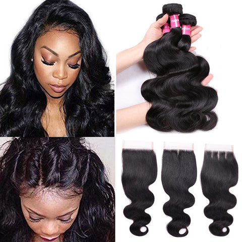 5 pcs Bundle 12, 14, 16, 18 and 14 inch closure Body Wave 4 Bundles With 4x4 Closure Brazilian Hair Weave Bundles With Closure