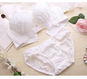 Push Up Bra Set 2pc Sexy Women Underwear Lingerie Panties And Embroidery Cotton Bralette Set Female Underclothes Underwear