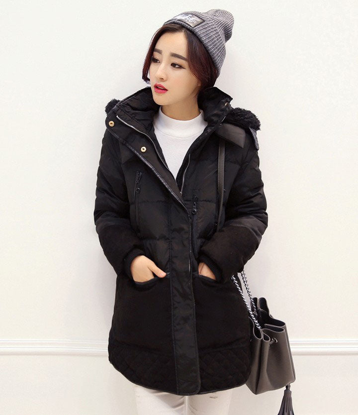 Women's Cotton Winter Coat Padded Long Slim Hooded Parkas Plus Size