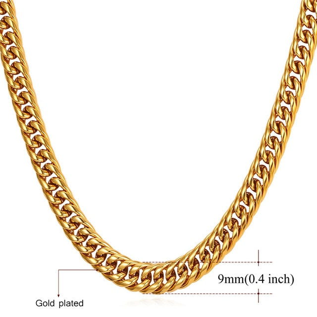 TBOO Men's Miami Cuban Link Chain Hip Hop Gold Jewelry Chains Wholesale Thick Stainless Steel Long Big Chunky Necklace Gift N453
