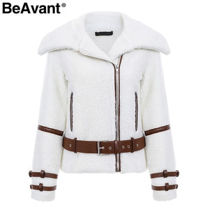 Women Coat Fashion Turndown Collar Teddy jacket Women Outerwear coat Casual ladies White faux fur coat Zipper sash outerwear winter jacket