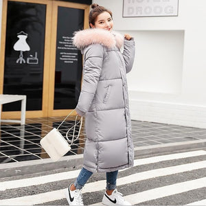 Warm Hooded Fur Collar Cotton Long Parka Plus Size Women Winter Coat  Jacket 2018 Clothing For Mujer Feminine De Inverno Casaco
