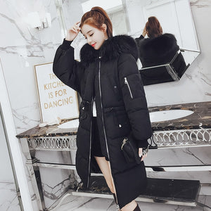 Winter Warm Fur Hooded Collar Cotton Long Parka Plus Size Women Winter Coat