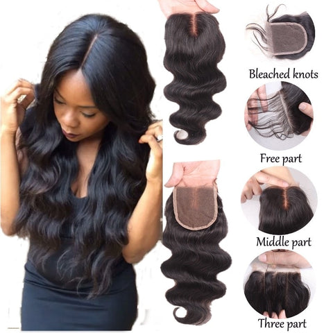 "Brazilian Body Wave Lace Closure Free Part 100% Human Hair Top Lace Closure 8""-20"" With Baby Hair 4*4 Lace Closure For Women"