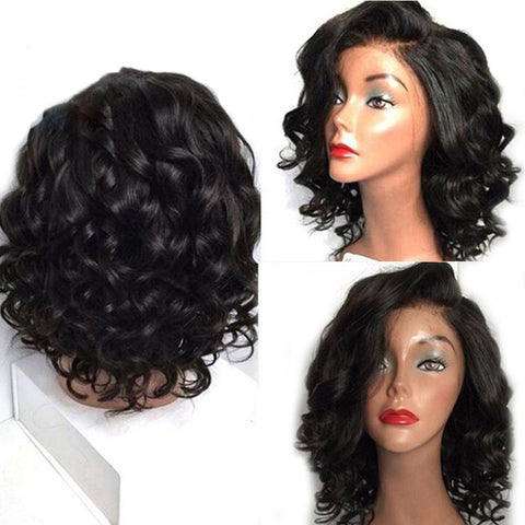Glueless Lace Front Human Hair Wigs Pre Plucked Short Curly Brazilian  Remy 13x4.5 Lace Frontal