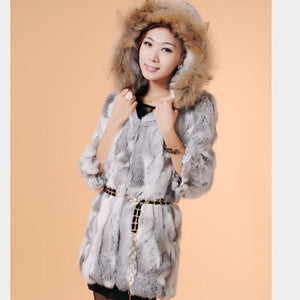 Genuine Rabbit Fur Coat with Hood Raccoon Fur Rabbit Fur Jacket Plus Sizes Women Winter Rabbit Fur Waistcoat
